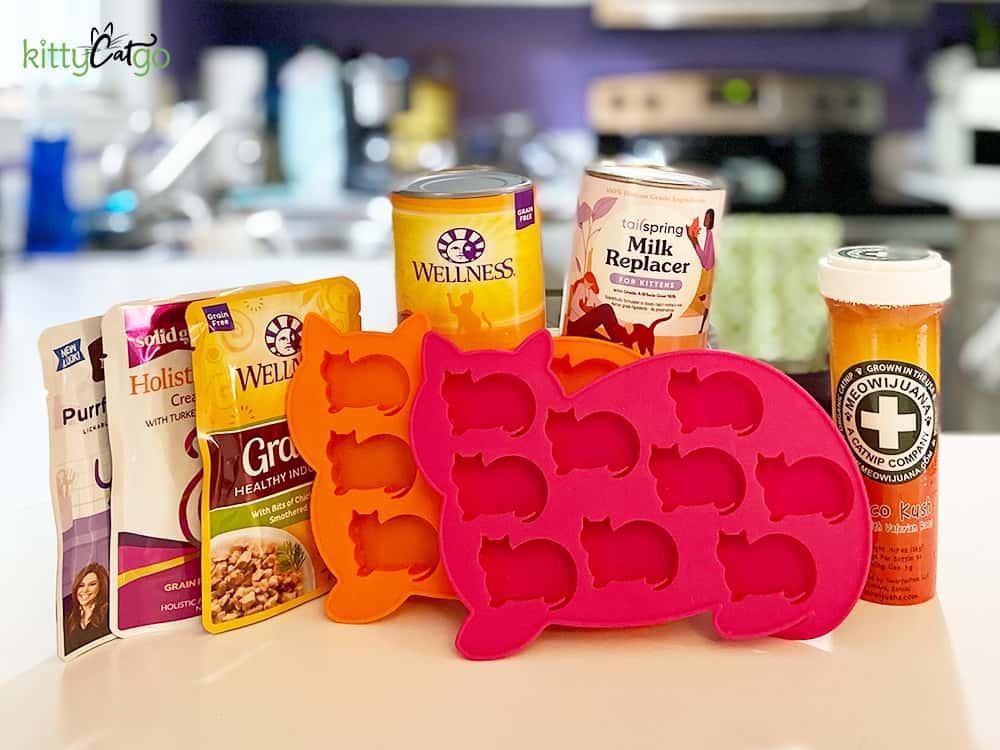 frozen cat treat recipe supplies - ice cube tray, cat food, catnip